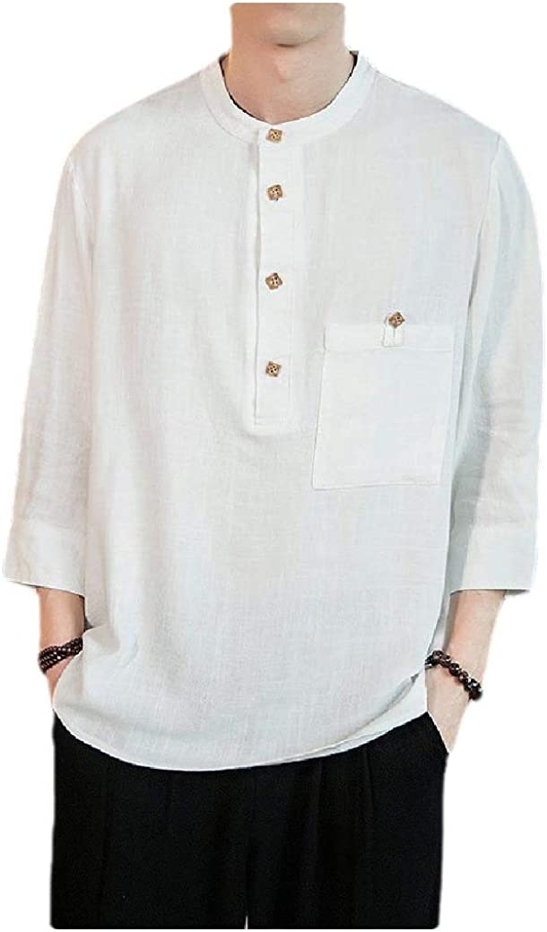 Comaba Mens Casual Pocket Plus Size Chinese Style 3//4 Sleeve Oxford Shirt
