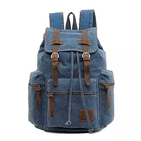 FanGoods Vintage Unisex High Density Thick Canvas Backpack with Leather Strap for Hiking Cycling Travel School FG-US-WB0362