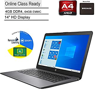 """2020 HP Stream 14 14"""" Laptop Computer, AMD A4-9120e up to 2.2GHz, 4GB DDR4 RAM, 64GB eMMC, Online Class Ready, Bluetooth 4.2, USB 3.1, Pink, Windows 10 Home in S, BROAGE Mouse Pad + 32GB SD Card"""