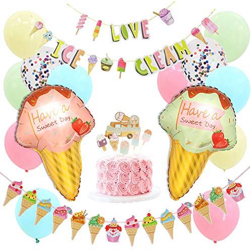 Ice Cream Party Decorations, Summer Ice Cream Cake Topper, Ice Cream Garland and Balloons, Birthday Party, Baby shower Supplies Sets