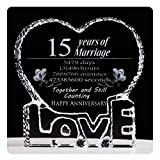 YWHL Fifteen 15 Year Marriage 15th Anniversary Crystal Paperweight Keepsake Gift