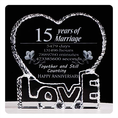 YWHL Fifteen 15 Year Marriage 15th Anniversary Crystal Paperweight Keepsake ()