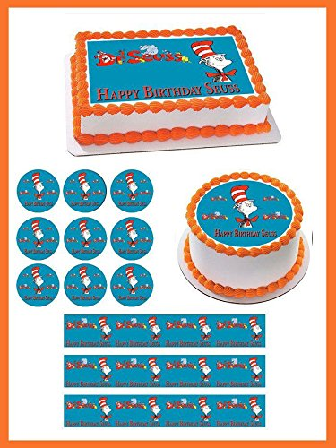 Dr Seuss Edible Cake Topper - 2' cupcake (12 peaces/sheet) inches ()