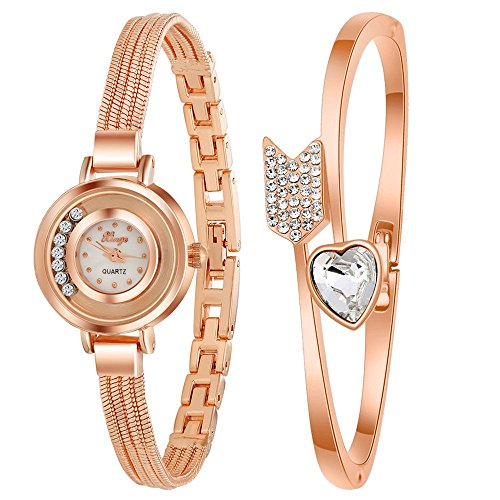 Women's Delicate Rose Red Arrow Heart Slim Strap Luxury Wrist Watch + Bracelet