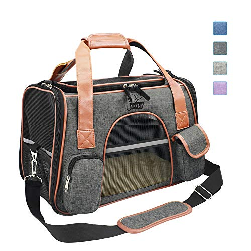 Purrpy Premium Cat Dog Carrier Airline Approved Soft Sided Pet Travel Bag, Car Seat Safe Carrier Deep Grey M ...