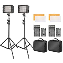 Bestlight 2-pack Dimmable 160 LED Video Light Kit with 75-inch Light Stand, 2600 mAh Li-ion Battery, Battery Charger, Color Filters and Carrying Case for Photo Studio Portrait YouTube Video Shooting