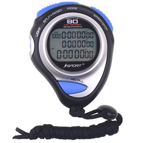 Digital Chronomètre Minuteur trois rangées écran Athletics Racing Chronomètres avec 80genoux mémoire Split temps pour sports entraîneurs et Arbitres