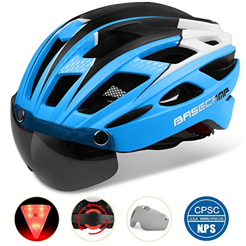 Basecamp Bike Helmet, Light Weight Bicycle Helmet CPSC Standard Cycling Helmet with Removable Visor&Safety Light for Adult Men&Women Mountain&Road Skateboarding Ski & Snowboard (BlueBlackWhite)