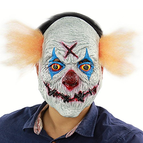 Halloween Party Scary Creepy Cosplay Stitched Mouth X Clown Mask Costume Decorations Huanted House Props Latex -