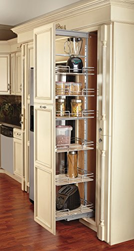 Rev-A-Shelf 9 in Tall Pullout Maple Pantry SC, Chrome