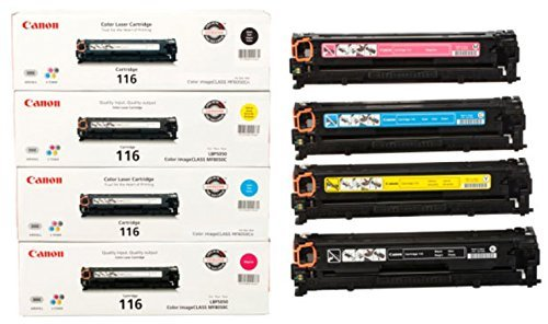 Original Canon 116 Black, Cyan, Magenta, Yellow for the Canon Color imageCLASS MF8050Cn, 8080Cw Sealed In Retail Packaging