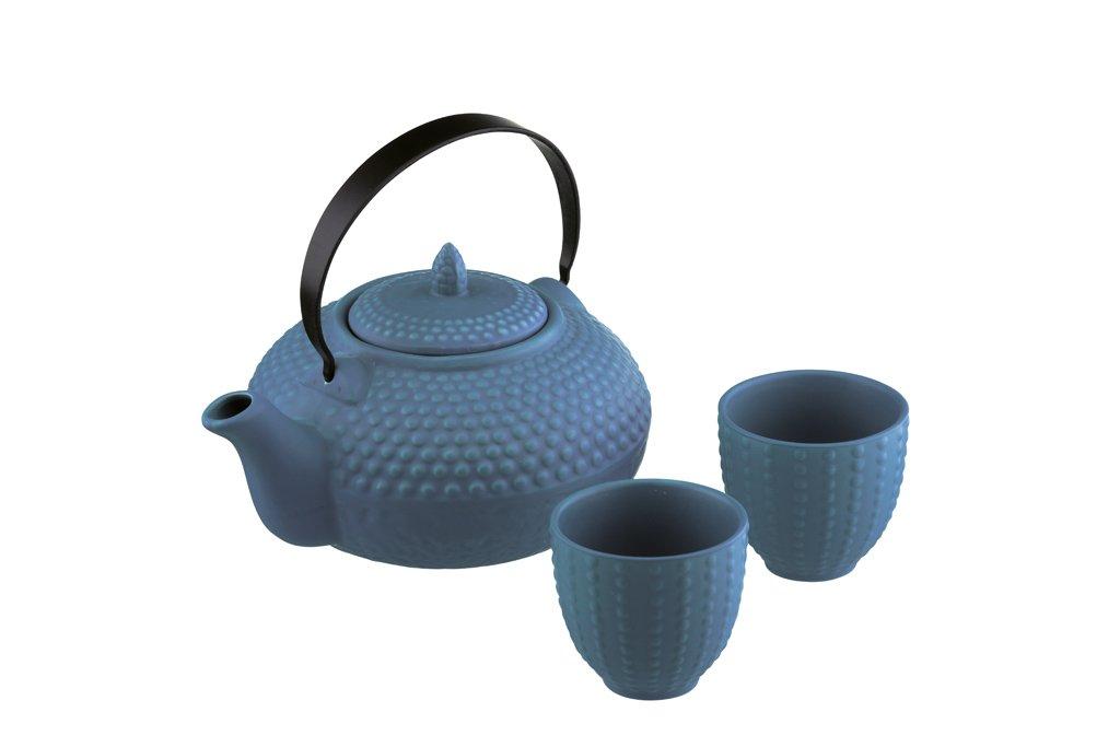 BIA Stoneware 24 Ounce Teapot Set - 3 Piece,Teal 407022G+1430M