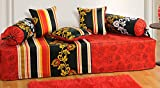 YUGA Indian Red Pure Cotton Diwan Set Cover Floal Printed Home Decor-Pack of 6 Pcs