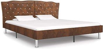 vidaXL Bettgestell mit Lattenrost Polsterbett Doppelbett Bettrahmen Schlafzimmerbett Stoffbett Ehebett Bett Schlafzimmerm/öbel Dunkelgrau Stoff 200x140cm