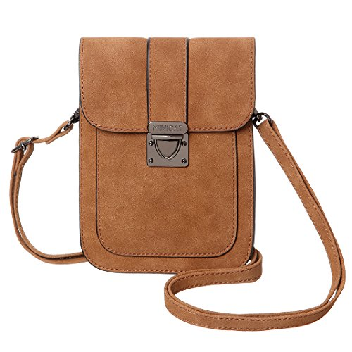 Womens Mini Leather Tan (MINICAT Women Simple Series Small Crossbody Bags Synthetic Leather Cell Phone Purse Wallet(Tan-Matte))