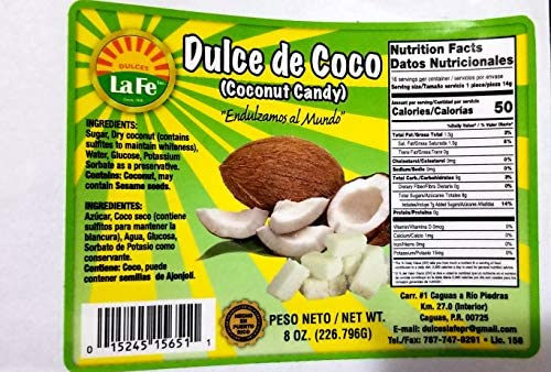 Amazon.com : Coconut Candy (Dulce De Coco) By Fabrica De Dulces La Fe : Candy And Chocolate Bars : Grocery & Gourmet Food