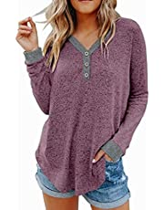 Lacozy Women V Neck Henley Shirts Button Ribbed Knit Sweaters Loose Fit Color Block Blouse Tops