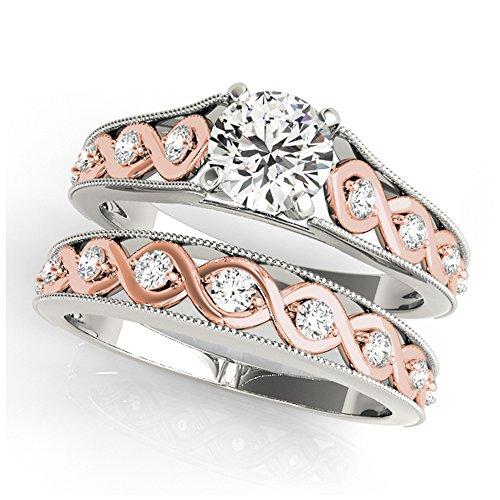 14K White Gold Unique Wedding Diamond Bridal Set Style MT50929