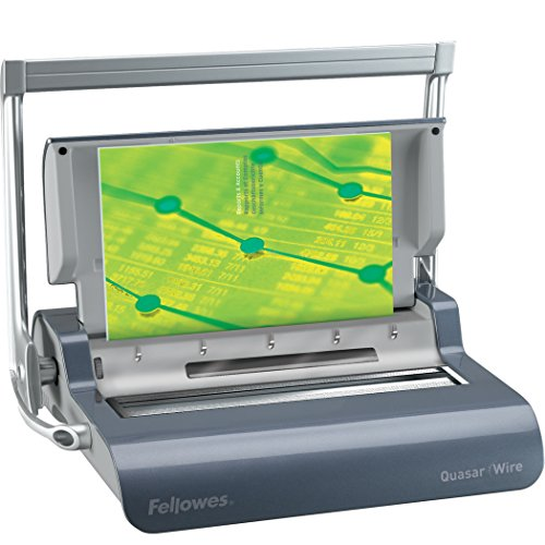 - Fellowes 5217401 Quasar Manual Wire Binding Machine, 18 1/8 x 15 3/8 x 5 1/8, Metallic Gray