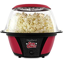 West Bend 82707 Stir Crazy Electric Hot Oil Popcorn Popper Machine Offers Large Lid for Serving Bowl and Convenient Storage, 6-Quarts, Red