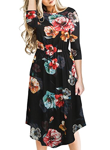 Fantaist Women's 3/4 Sleeve Floral Print Casual Pocket Fit and Flare Midi Dress (S, (Knee Length Dress)