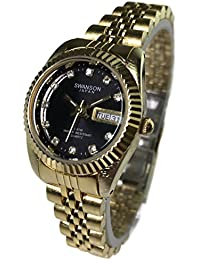 Reloj de Mujer Swanson Japan Womens Day-Date Gold Tone Black Dial with Stones