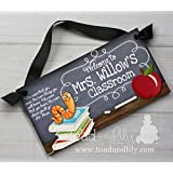 Teacher Chalkboard Classroom with Book Worm Quotation Saying DOOR SIGN Teacher End of Year Christmas Present Gift TDS012