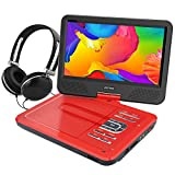 WONNIE 10.5 Inch Portable DVD Player, Best Gift for Kids (Red)
