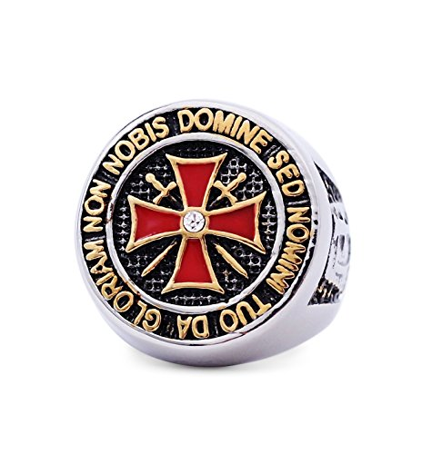 wize-transaction Knight Templar Ring - Masonic College Style Silver Color Stainless Steel Ring