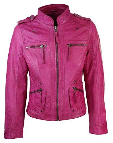(Women's Leather Jacket Bomber Motorcycle Biker Real Lambskin Leather Jacket for Womens Pink Coat & Jackets)