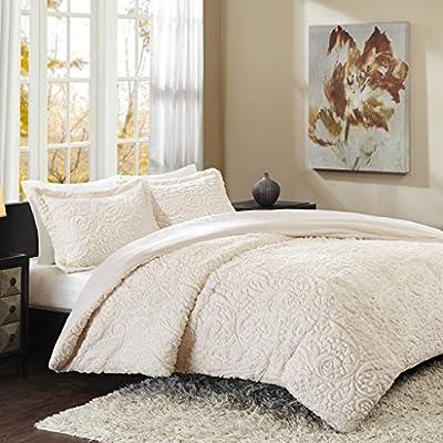 Madison Park Norfolk Comforter Set, Full/Queen, Ivory - Set includes: 1 comforter, 2 standard shams Materials: 100percent polyester filling: 100percent fiber Measurements: 90-by-90-inch comforter, 20-by-26-inch standard shams - comforter-sets, bedroom-sheets-comforters, bedroom - 51wwwvHMB%2BL. SS400  -
