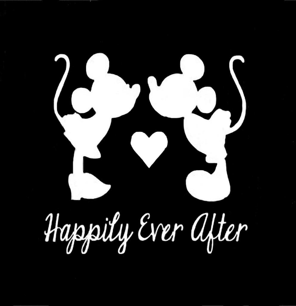 Amazon com happily ever after mickey and minnie mouse disney decal vinyl stickercars trucks vans walls laptop white 5 5 x 5 5 incci1353 automotive