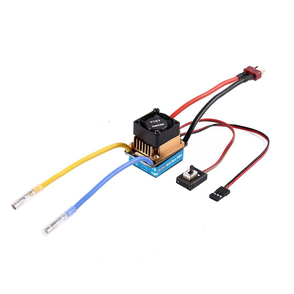Favrison OCDAY 2-3 Lipo/6-9 NiMH 480A Dual Mode Brush Speed Controller ESC Regulator With Cooling Fan For 1/10 RC Car by Favrison (Image #1)