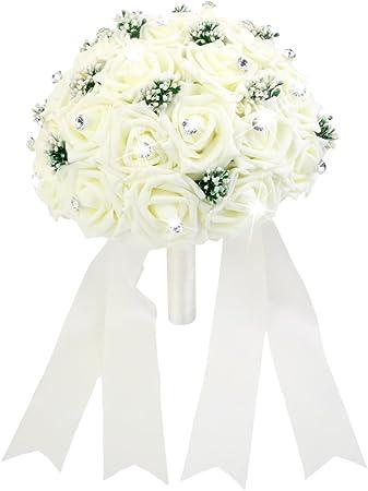 Bouquet Sposa Rose Avorio.Bouquet Rose Artificiali Per Sposa Damigella Decoro Matrimonio