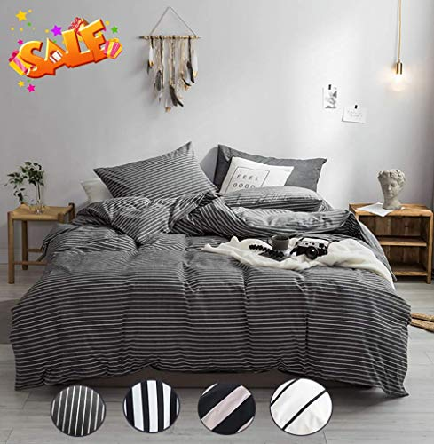 - karever Kids Duvet Cover Sets Grey Stripe Bedding Set Queen Cotton 3 Pieces Full Comforter Cover Set Gray White Vertical Stripes Printed