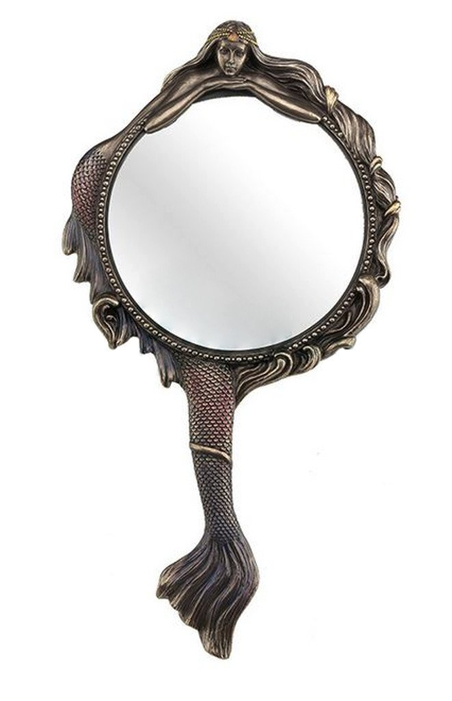 Mermaid Hand Mirror Collectible Decoration Figurine Cold Cast Bronze Masada Goods No Model