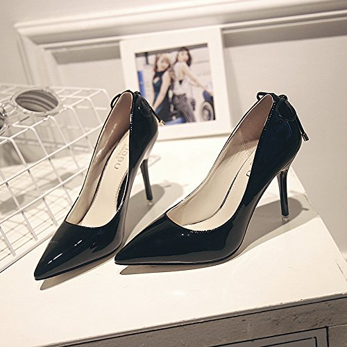 Black zapatos talón roja correa fina alto Zapatos del Punta club night con pajarita t7BEqRqw