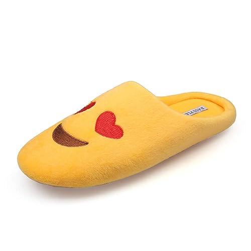 76dcc3d248 Las Mujeres De Moda Simple Zapatillas Terciopelo Suave Piso Interior Casa  Emoji Lindo Zapatos Invierno Caliente Calzado para Dormitorio  Amazon.es   Zapatos ...