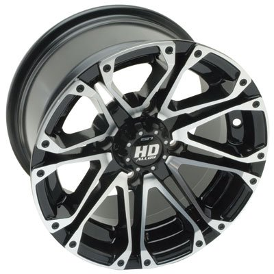 STI 4/156 HD3 Alloy Wheel 12x7 4.0 + 3.0 Black Machined for Yamaha RAPTOR 660 2001-2005