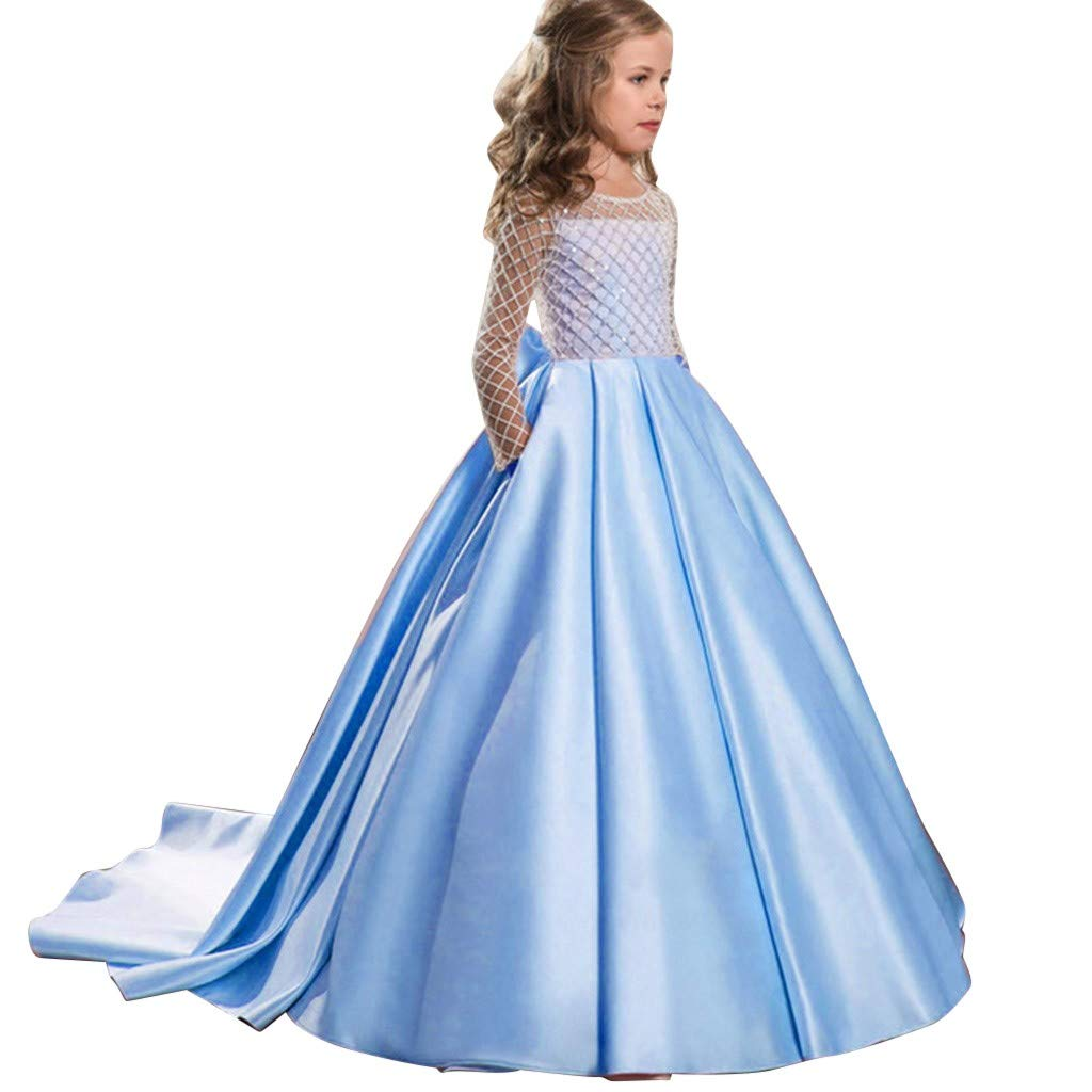 Little Girls Kids Long Dresses Fineser Kids Child Mesh Bowknot Princess Pageant Gown Party Birthday Wedding Dress 5-15Yrs (Sky Blue, 8-9 Years(130)) by Fineser Baby Clothes