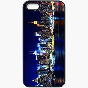 Protective Case Back Cover For iPhone 5 5S Case America New York Bay Night Skyscrapers Black