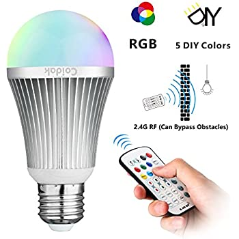 Coidak e26 rgb w led color changing light bulb with 2 4g rf wireless remote controll not ir pure white dimmable a19 lamp