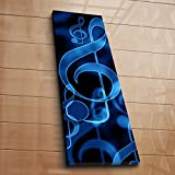 LaModaHome Musical Canvas Wall Art, Light Blue Music Notes, Wooden Thick Frame Painting, Total Size (12'' x 36'') - Wall Hanging for Living Room, Bedroom, Dorm
