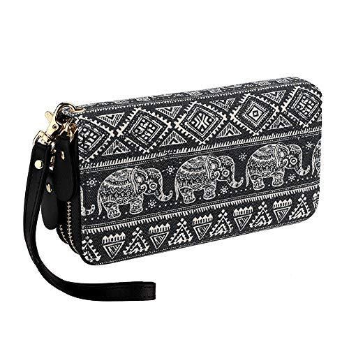 (Bohemian Purse Wallet Canvas Elephant Pattern Handbag with Coin Pocket and Strap (Large, Black Elephant))