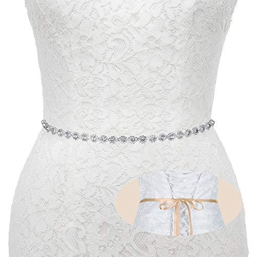 Bridal Wedding Thin Rhinestone Belts - Dress Accessories Sash Crystal Belt,(Silver&Champagne
