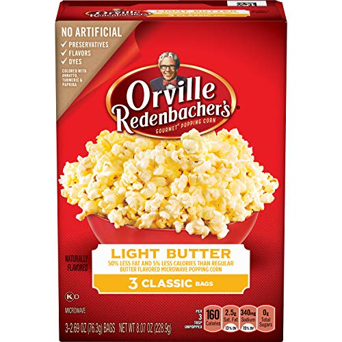 Orville Redenbacher's Light Butter Microwave Popcorn, Classic Bag, 3-Count (Pack of 12) (Light Flavor Butter)