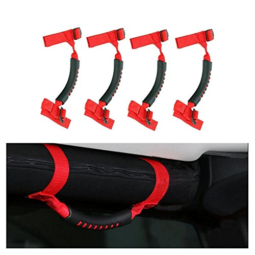 4 x Grab Handles Grip Handle Red Holder Roll Bar Grab Handles For Jeep Wrangler JK Unlimited Rubicon 1987-2016