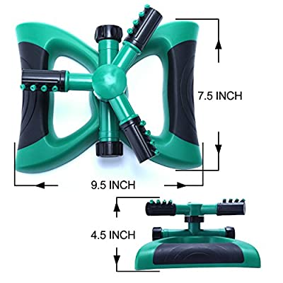 Lawn Sprinkler, Automatic 360 Degree Garden System Range up to 32.8 Ft Adjustable Nozzle Irrigation Base Plant Watering Garden Supplies