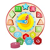 Lewo Wooden Teaching Clock Educational Toys Shapes Sorting...