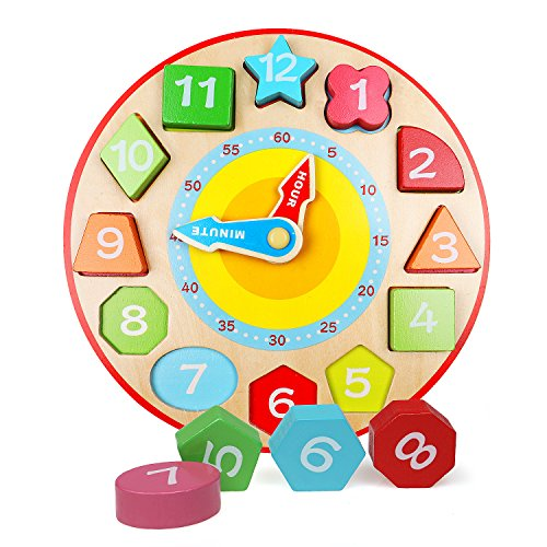 Lewo Wooden Teaching Clock Educational Toys Shapes Sorting Games for Kids ()